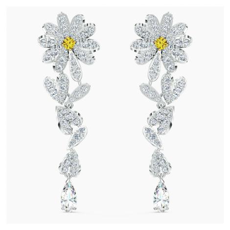 Eternal Flower Pierced Earrings, Yellow, Mixed metal finish Swarovski