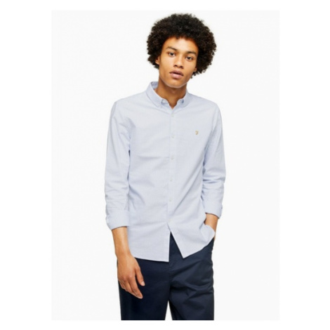 Mens Farah Blue 'Brewer' Stripe Slim Shirt, Blue