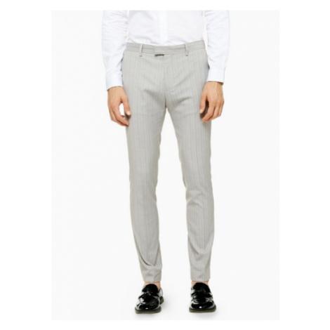 Mens Grey Pinstripe Super Skinny Fit Suit Trousers, Grey Topman