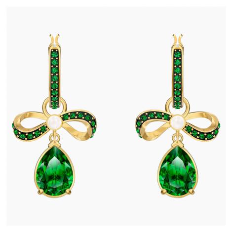 Black Baroque Hoop Pierced Earrings, Green, Gold-tone plated Swarovski