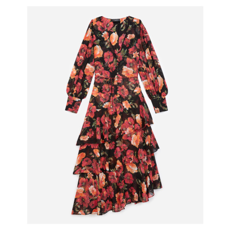The Kooples - Long frilly printed dress with floral motif - WOMEN