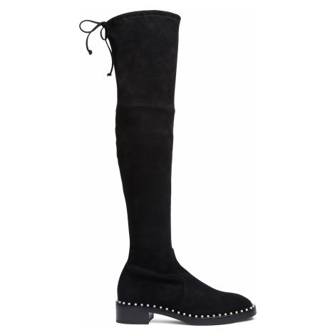 Stuart Weitzman Boots Women - LOWLAND PEARL BLACK SUEDE STRETCH