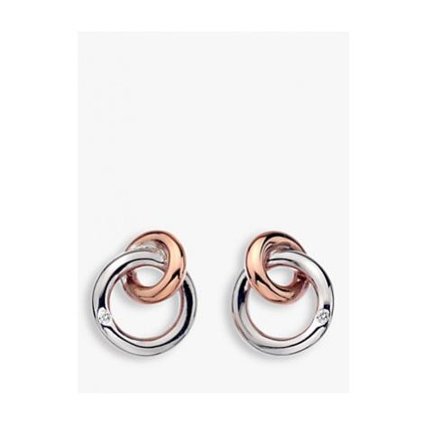 Hot Diamonds Eternity Interlock Stud Earrings, Silver/Rose Gold