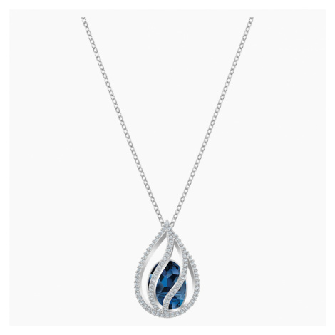 Energic Pendant, Blue, Rhodium plated