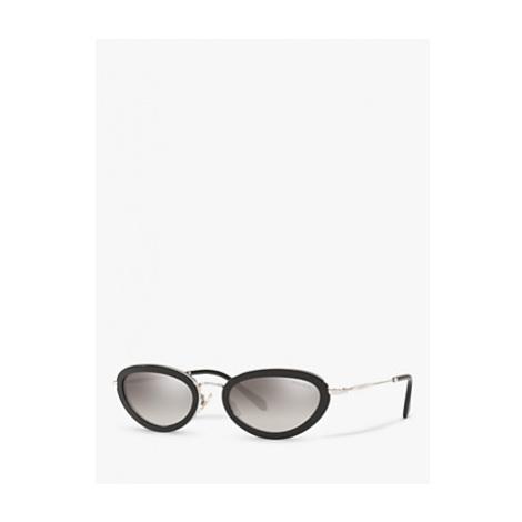 Miu Miu MU 58US Women's Oval Sunglasses, Black/Mirror Grey