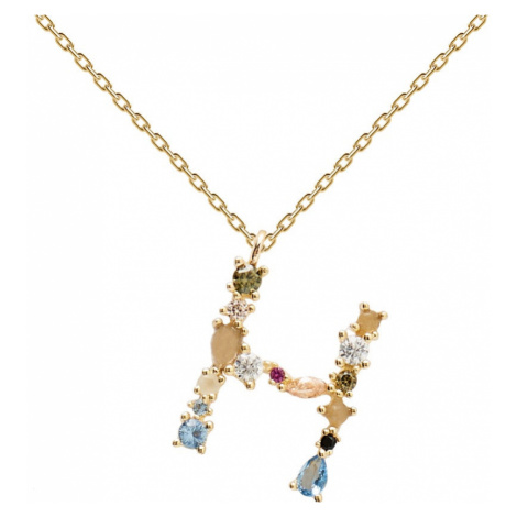 P D PAOLA Gold Plated Multi Stone Letter H Necklace