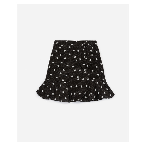 The Kooples - Frilly short black viscose skirt with dots - WOMEN
