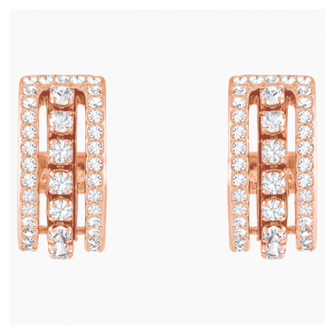 Further Pierced Earrings, White, Rose-gold tone plated Swarovski