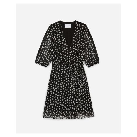The Kooples - Black wraparound short frilly dress w/hearts  - WOMEN The Kooples Sport