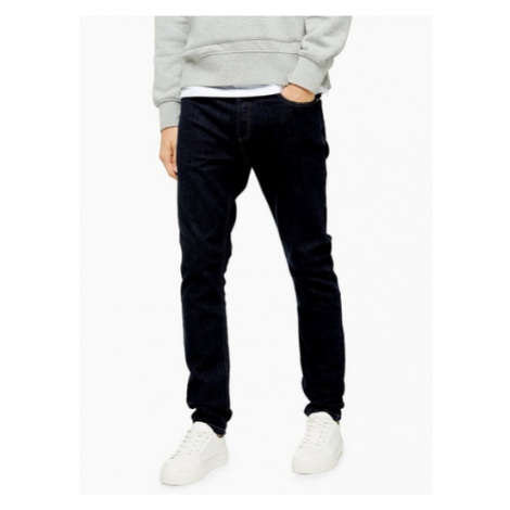 Mens Blue Raw Denim Stretch Skinny Jeans, Blue