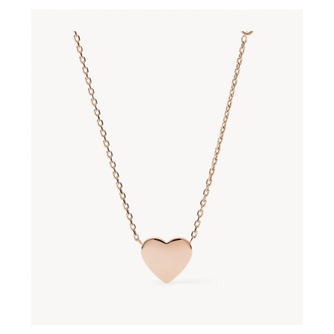 Fossil Women's Heart Rose Gold-Tone Stainless Steel Necklace - Rose Gold Tone