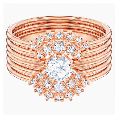Penélope Cruz Moonsun Stacking Ring, White, Rose-gold tone plated Swarovski