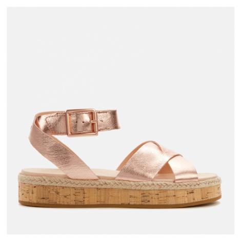 Clarks Women's Botanic Poppy Leather Flat Sandals - Rose Gold - UK