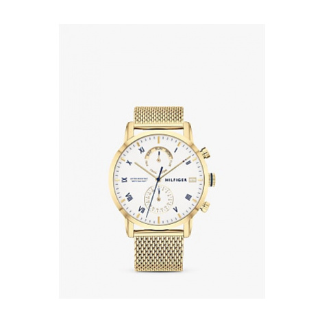Tommy Hilfiger 1710403 Men's Chronograph Date Bracelet Strap Watch, Gold/White