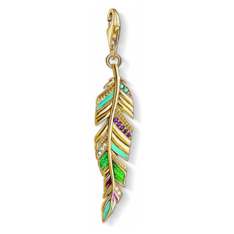 Ladies Thomas Sabo Gold Plated Sterling Silver Charm Club Ethnic Feather Charm Y0033-471-7
