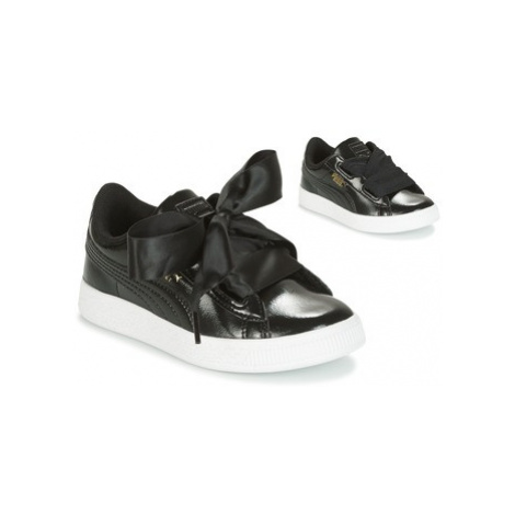 Puma BASKET HEART GLAM PS girls's Children's Shoes (Trainers) in Black