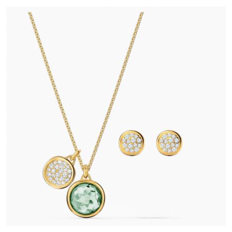 Tahlia Set, Green, Gold-tone plated Swarovski