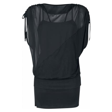 Forplay - 2 in 1 Side Sleeve Chiffon Dress - Girls shirt - black