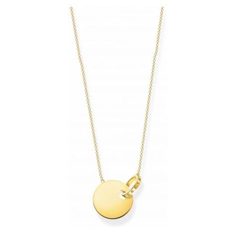"""Thomas Sabo Jewellery Together Gold """"Together Forever"""" Disc Necklace KE1947-413-39-L45V"""