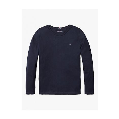 Tommy Hilfiger Girls' Basic Flag Logo Long Sleeve Organic Cotton Top