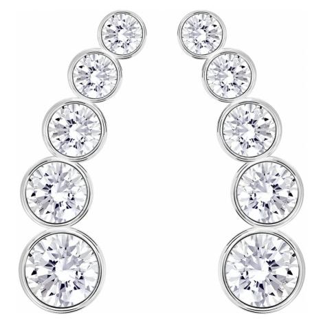 Harley Pierced Earrings, White, Rhodium plated Swarovski
