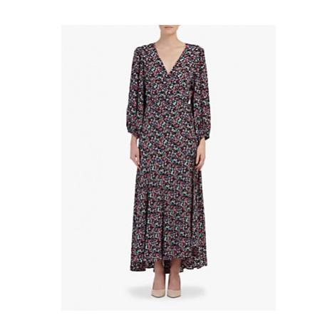 Essentiel Antwerp Floral Print Wrap Dress, Black/Multi