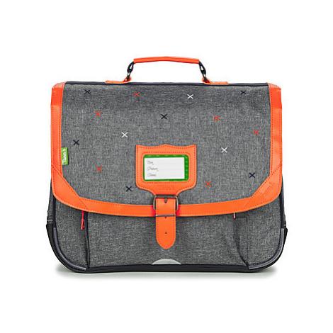 Grey boys' school bags and pencil cases