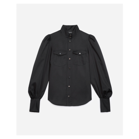 The Kooples - Black cotton shirt with high neck - WOMEN