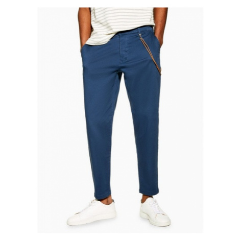 Mens Navy Tapered Trousers With Chain, Navy Topman