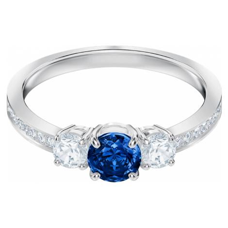 Attract Trilogy Round Ring, Blue, Rhodium plated Swarovski