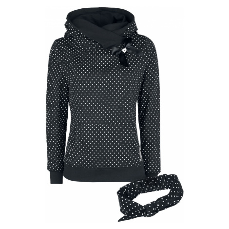 Pussy Deluxe Dots sweater with scarf collar Hooded sweater black