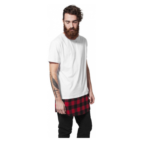 Urban Classics Long Shaped Flanell Bottom Tee wht/blk/red