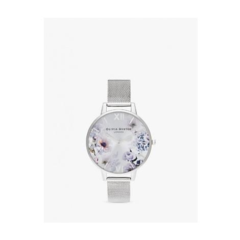 Olivia Burton OB16EG117 Women's Sunlight Florals Mesh Bracelet Strap Watch, Silver/Multi