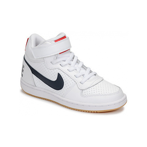 Nike COURT BOROUGH MID PRE-SCHOOL girls's Children's Shoes (High-top Trainers) in White