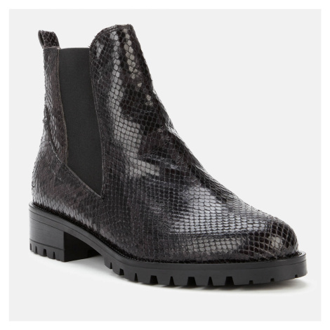 Dune Women's Powerful Reptile Print Leather Boots - Black