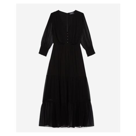 The Kooples - Black printed midi dress with frills - WOMEN