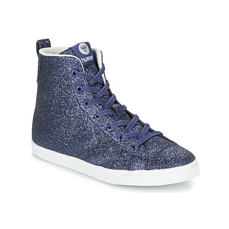 Hummel STRADA GLITTER JR girls's Children's Shoes (High-top Trainers) in Blue
