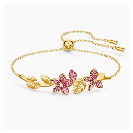 Tropical Flower Bangle, Pink, Gold-tone plated Swarovski