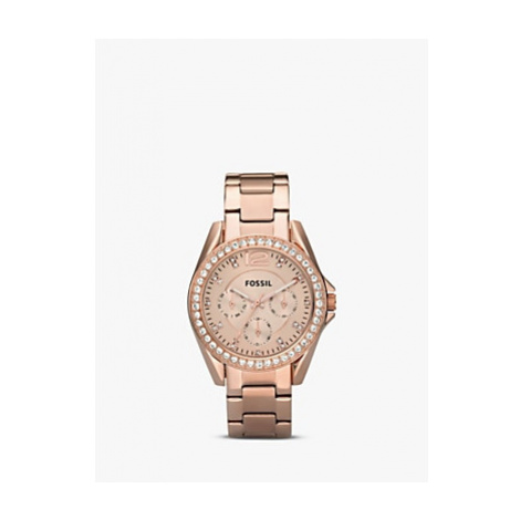 Fossil ES2811 Women's Riley Single Chronograph Bracelet Strap Watch, Rose Gold