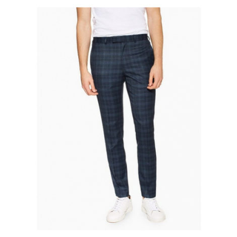 Mens Navy Check Skinny Fit Suit Trousers, Navy Topman