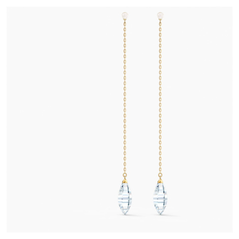 So Cool Pierced Earrings, White, Gold-tone plated Swarovski