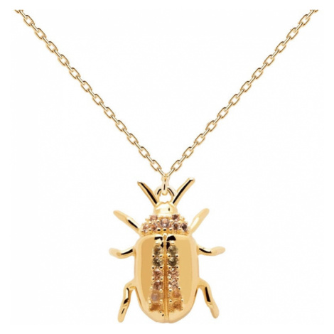 P D PAOLA Gold Plated Balance Beetle Amulet Necklace
