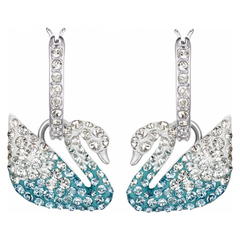Swarovski Iconic Swan Pierced Earrings, Multi-coloured, Rhodium plated