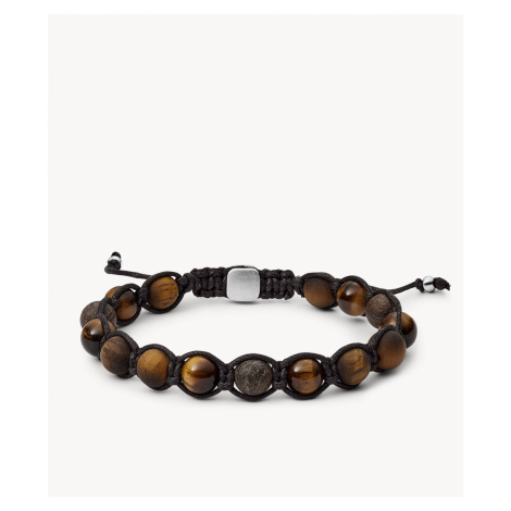 Fossil Men's Tiger's Eye and Bronzite Bracelet - Brown