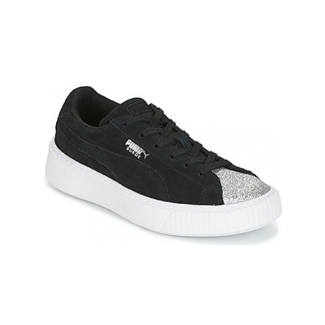Puma SUEDE PLATFORM GLAM PS girls's Children's Shoes (Trainers) in Black