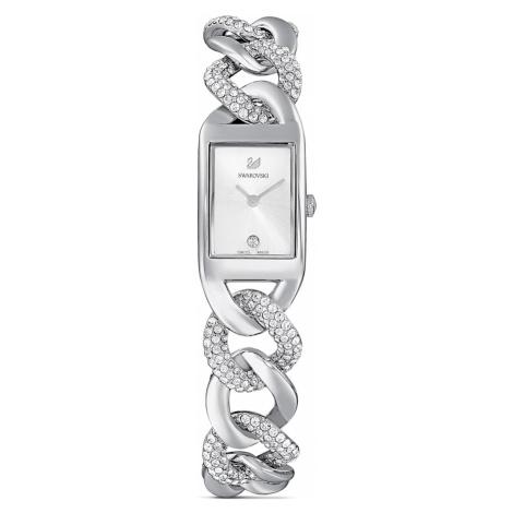 Cocktail Watch, Full Pavé, Metal bracelet, Silver Tone, Stainless steel Swarovski