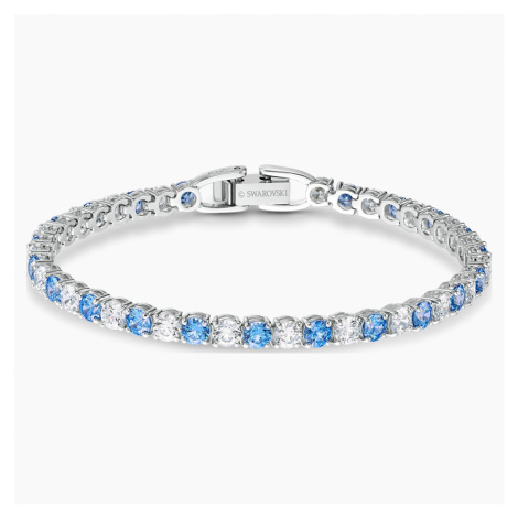 Tennis Deluxe Bracelet, Blue, Rhodium plated Swarovski