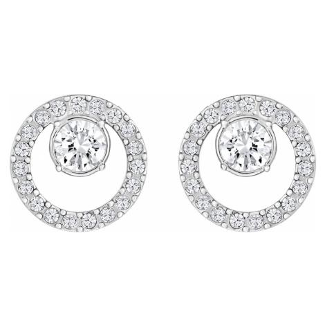 Creativity Circle Pierced Earrings, White, Rhodium plated Swarovski