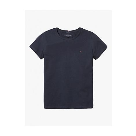 Tommy Hilfiger Girls' Basic Flag Logo Short Sleeve Organic Cotton Top