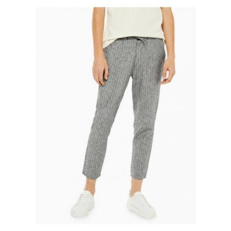 Mens Skinny Grey Trousers With Linen, Grey Topman